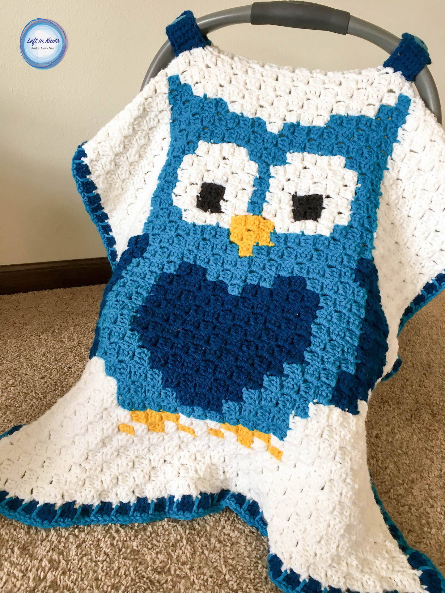 Crochet Owl Car Seat Canopy - If you're looking to learn a new crochet skill, check out these 12 corner to corner crochet patterns. #cornertocornercrochetpatterns #C2Ccrochetpatterns #crochetpatterns