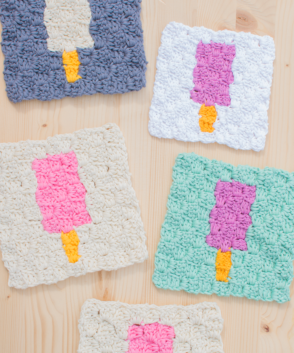 Ice-Lolly Corner To Corner - If you're looking to learn a new crochet skill, check out these 12 corner to corner crochet patterns. #cornertocornercrochetpatterns #C2Ccrochetpatterns #crochetpatterns