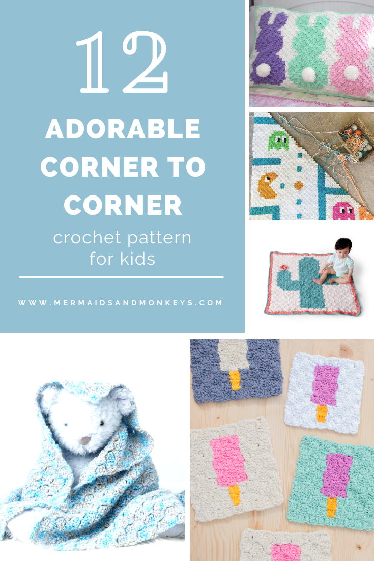 12 Adorable Corner to Corner Crochet Patterns for Kids - If you're looking to learn a new crochet skill, check out these 12 corner to corner crochet patterns. #cornertocornercrochetpatterns #C2Ccrochetpatterns #crochetpatterns