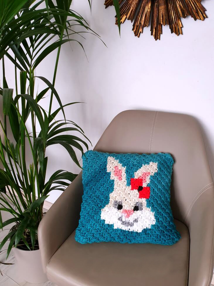 Removable C2C Pillow Case - If you're looking to learn a new crochet skill, check out these 12 corner to corner crochet patterns. #cornertocornercrochetpatterns #C2Ccrochetpatterns #crochetpatterns