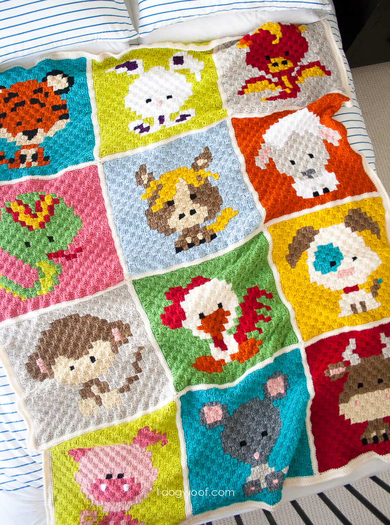 Zoodiacs C2C Crochet Afghan - If you're looking to learn a new crochet skill, check out these 12 corner to corner crochet patterns. #cornertocornercrochetpatterns #C2Ccrochetpatterns #crochetpatterns